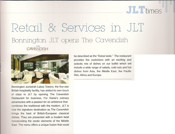 The Cavendish Restaurant featured on page 7 of JLTimes No. 2