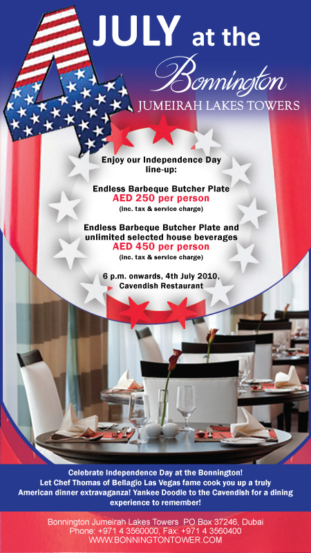Celebrate 4th of July in style, Dubai, Cavendish Restaurant