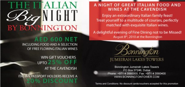 The Cavendish Restaurant at the Bonnington brings you an Italian night to remember!