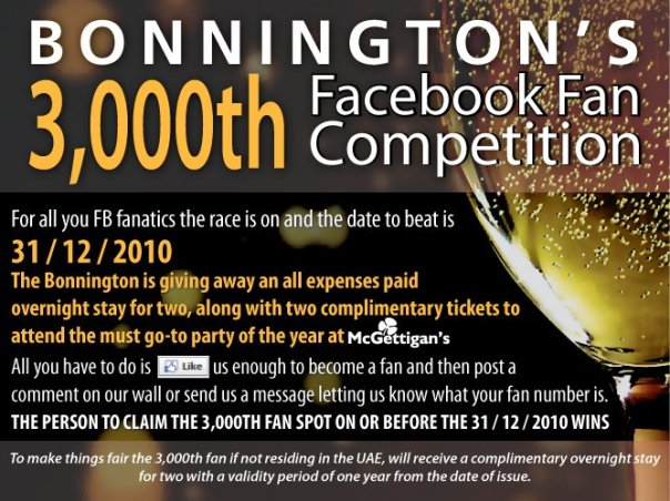 Bonnington Facebook Competition - the race is on to reach 3000 fans by Christmas
