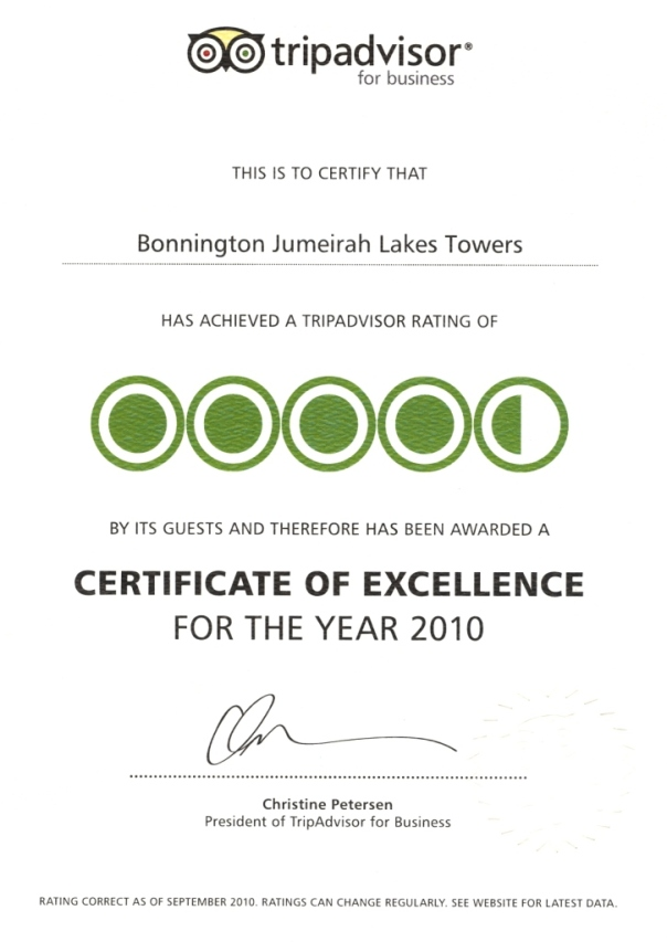 Bonnington Jumeirah Lakes Towers awarded TripAdvisor Certificate of Excellence