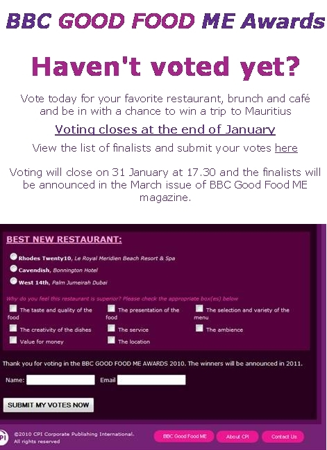 Vote for the Cavendish in the 2011 BBC Good Food Awards!