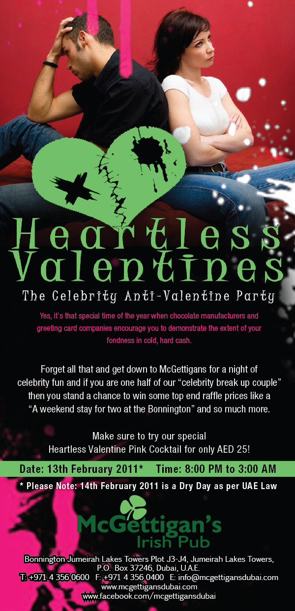 McGettigan's Anti-Valentine's - Don't like Valentine's Day? Join us!