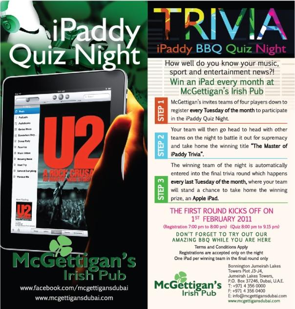 iPaddy - Win an iPad in Dubai's premier Irish Pub