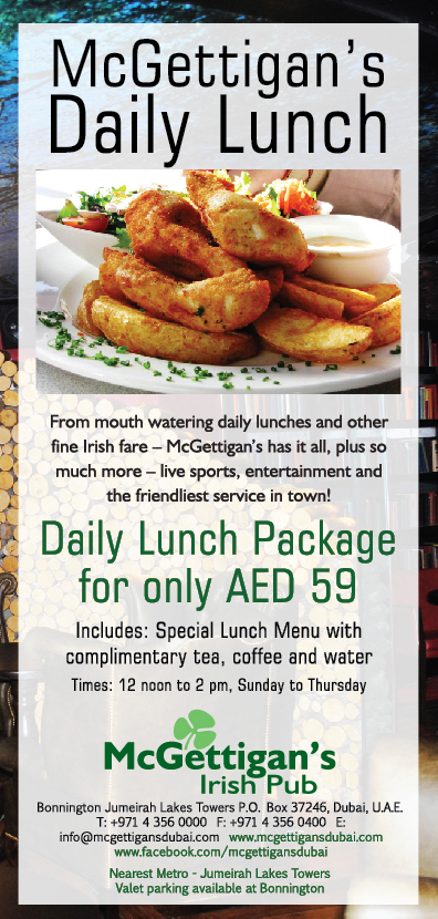 Weekday Lunch at McGettigan's - handy for JLT and Dubai Marina