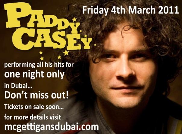 Paddy Casey live in Dubai