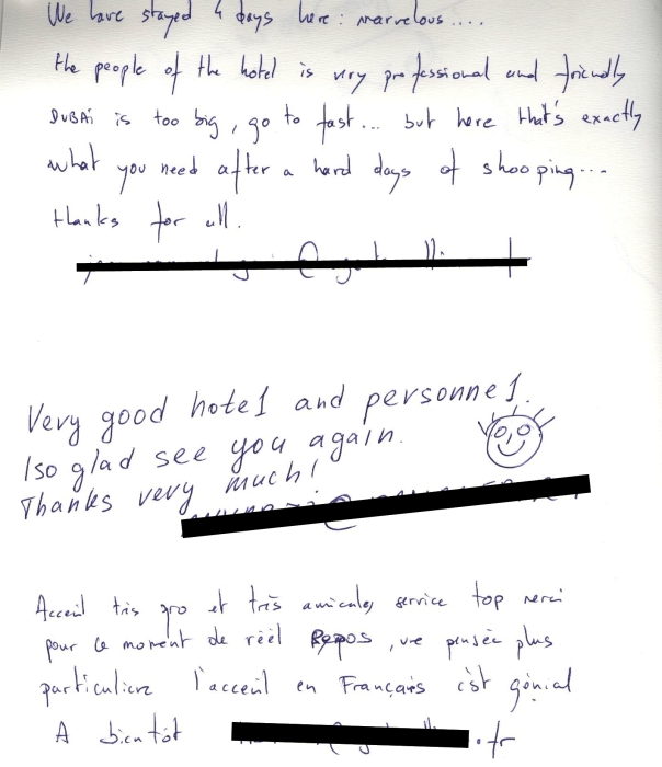 #guestcommentswednesday at the Bonnington in Dubai - Where guest comments are taken seriously!