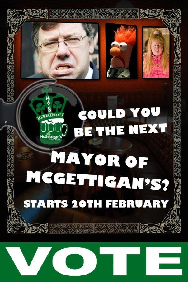 Vote for the Mayor of McGettigan's Irish Pub!