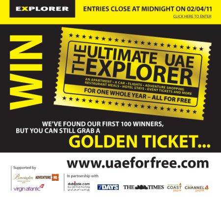 Grab a Golden Ticket to win a year for free in the UAE!