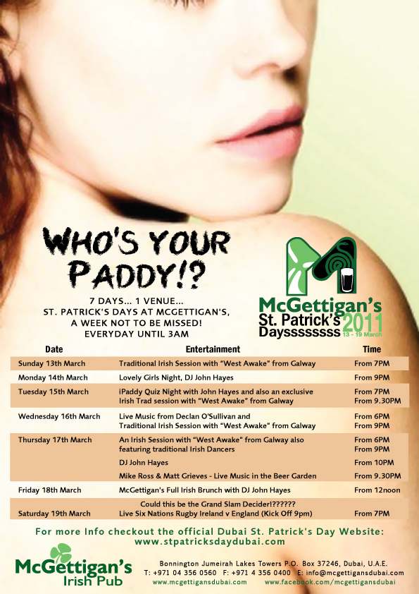 Check out what's happening on Paddy's Day in Dubai!