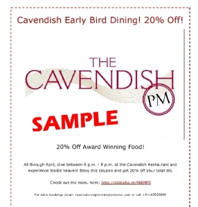 Dining discounts at the Cavendish - Bonnington Hotel Dubai - Only on Twitter!