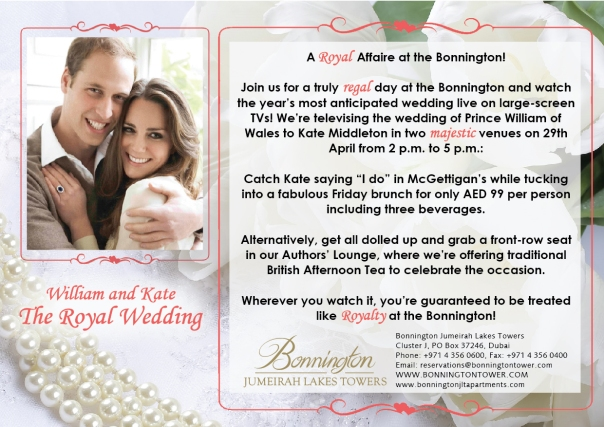 Catch the Royal Wedding 2011 at the Bonnington!