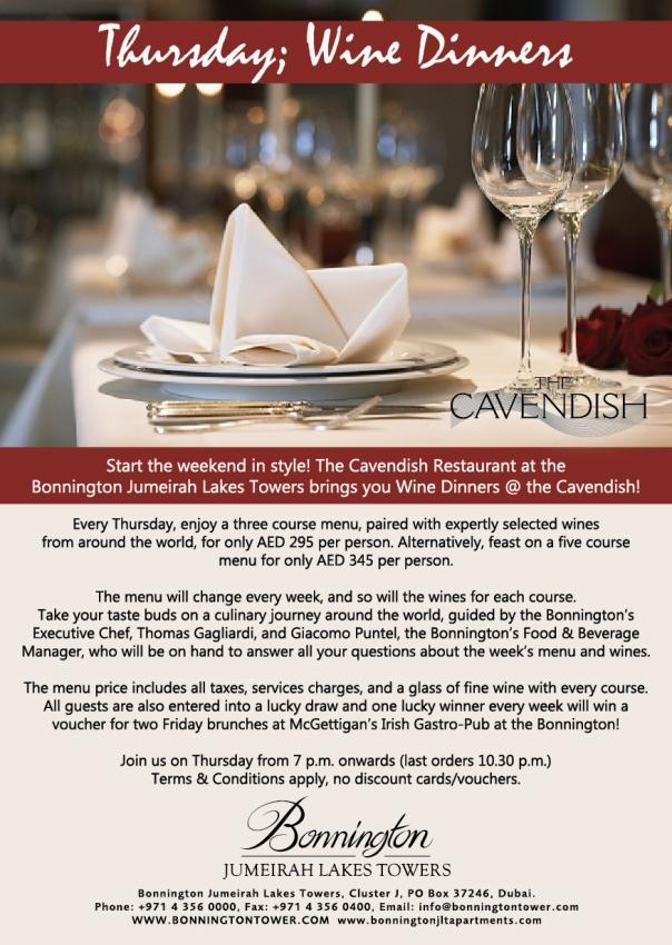 Thursday Wine Dinners! Cavendish Restaurant Jumeirah!