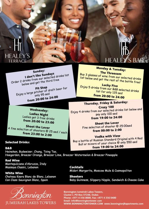 Healey's Summer Offers JLT Dubai Marina Cocktail and Wine Bar