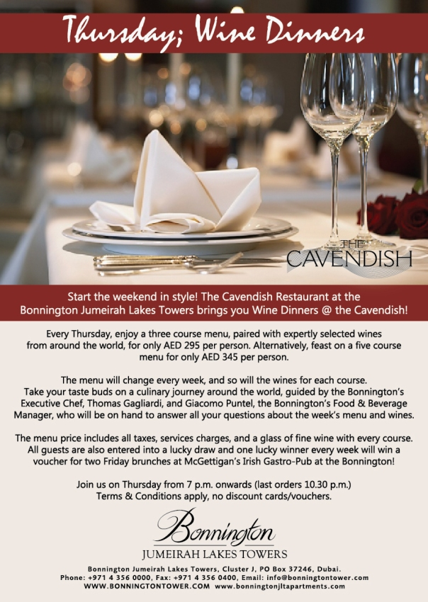 Cavendish Wine Dinners. Every Thursday at the Bonnington!