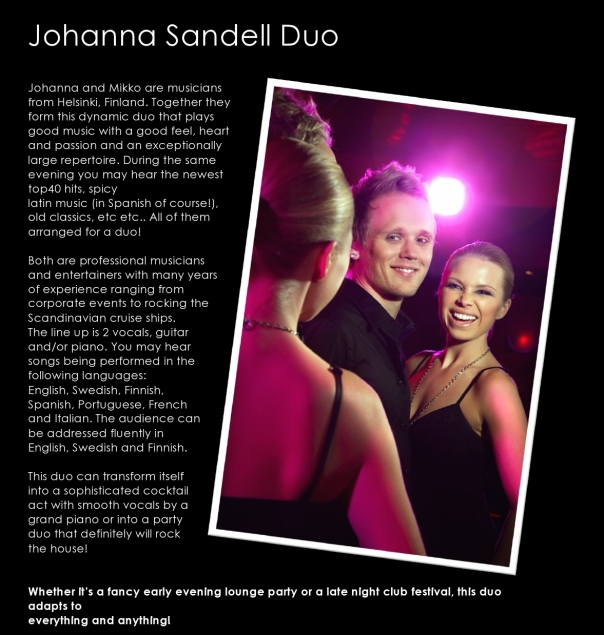 Johanna Sandell Duo - Live music in Jumeirah Lakes Towers