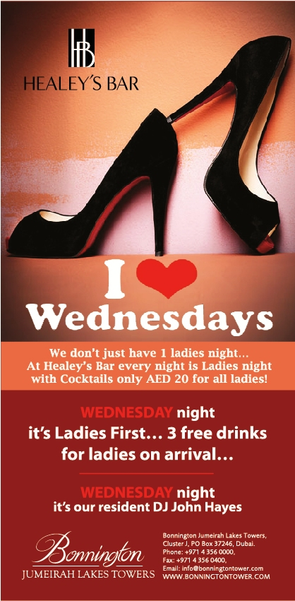 Live in JLT? Love Wednesdays! Ladies Night in Healey's just opposite Dubai Marina!