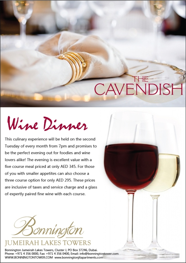 Cavendish Restaurant Gourmet Wine Dinners