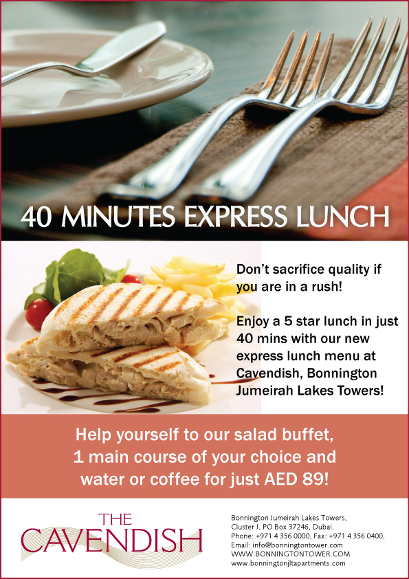 Express Lunch is now being served at the Cavendish restaurant in JLT