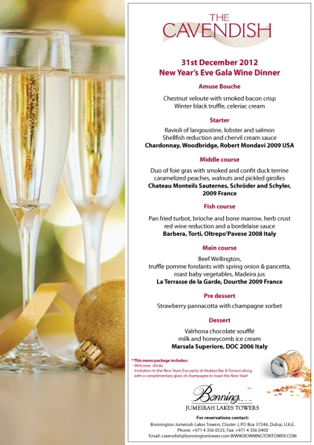 Cavendish NYE Menu Tall