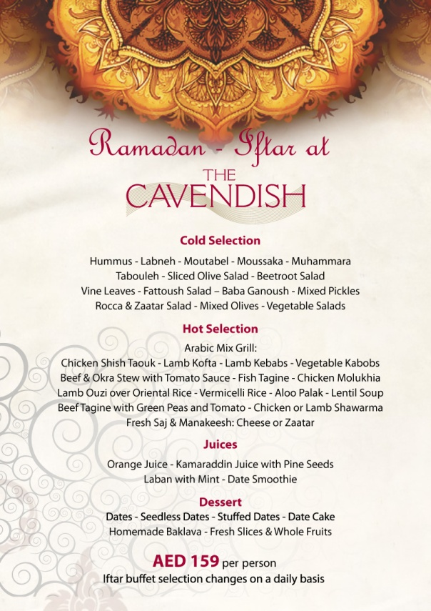 Cavendish Iftar Menu