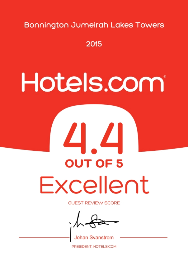 Hotels.com Certificate of Recognition 2015 Bonnington
