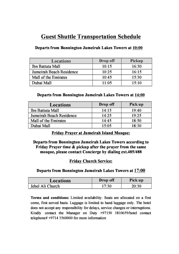 Guest Shuttle Schedule Bonnington Jumeirah Lakes Towers - 092015